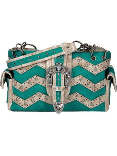 Turquoise and Beige Chevron Buckle Shoulder Bag