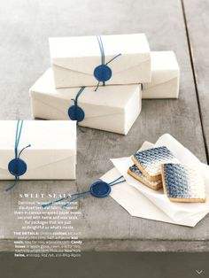 Blue wax seals with blue twine on white canvas box - lovely clean packaging Soap Packaging, Pretty Packaging, Jewelry Packaging, Packaging Design, Wrapping Gift, Creative Gift Wrapping, Creative Gifts, Edible Wedding Favors, Wax Seals