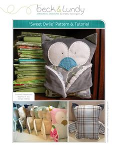 "@A Pal DeLany - i thought of you  Sweet Owlie tutorial & pattern by Patty Sloniger (From blog, click on ""downloadable pdf here.""  To see original tutorial, click on ""File"" in upper left hand corner & then on ""Download."""