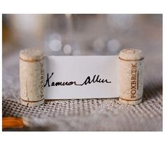 thought of you two when I saw this clever idea for place cards. Another use for all those corks at the Wine Cellar!!