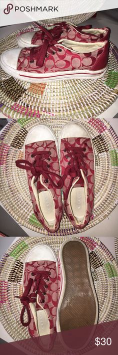 Coach Converse style Bobbi Sneakers 7.5 B Gently used Coach sneakers!  Red Coach signature design.  Size 7.5 B Coach Shoes Sneakers