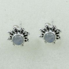RAINBOW MOON STONE DELICIOUS DESIGN 925 STERLING SILVER STUDS #SilvexImagesIndiaPvtLtd #Stud