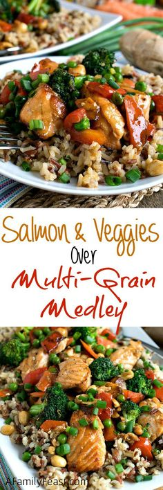 Stir Fry Salmon and Vegetables with Multi-Grain Medley - Quick, easy and delicious! (Healthy too!) #ad #sk @minutericeUS