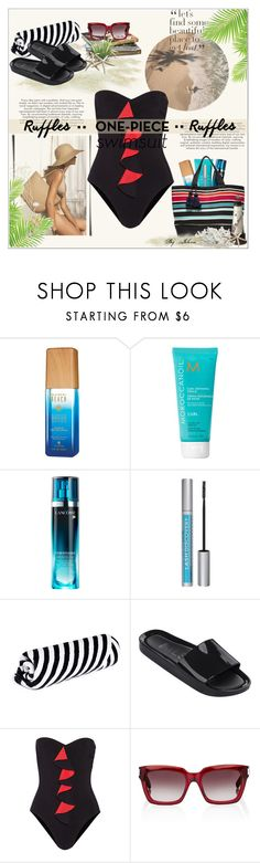 """Ruffled Up Swimwear"" by jelenalazarevicpo ❤ liked on Polyvore featuring Giorgio Armani, Alterna, Moroccanoil, Lancôme, Maybelline, Mercado Global, The Beach People, Melissa, Karla Colletto and Yves Saint Laurent"