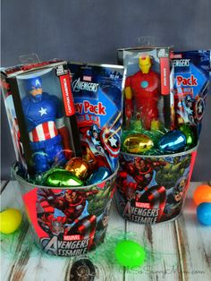 Decoupage DIY Avengers Easter Basket: Do you have a little superhero fan on your hands? Use a galvanized bucket to create your own Avengers-themed basket, and fill with comic books and action hero toys. Click through to discover more DIY Easter basket idea for kids.