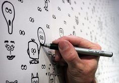 so fun! This wall paper has ready-drawn eyes that kids can add to. Love it!