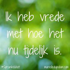 Ik heb vrede met hoe het nu tijdelijk is. Samen sprankelen + Sprankelmail: MarielleDuijndam.com #Sprankelshot #Affirmaties #Sprankelperspectief #Quotes