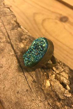 antique bronze brown turquoise wire wrapped bohemian  jewelry raw stone ring purple titanium cocktail statement ring polished stone