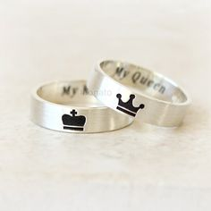 Crown Ring for KING and QUEEN / Custom Personalized by laonato