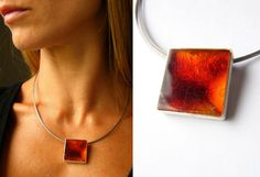 FREE Shipping Amber Pendant, Silver 925 red, cogniac, amberstone  NEW, UNIQUE von JewellryWithSoul auf Etsy