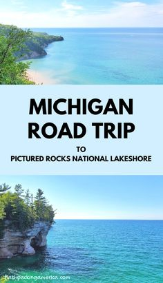 see the post for more! michigan road trip to pictured rocks national lakeshore park of the great lakes. lake superior. best places to visit in the midwest. hiking trails to waterfalls. lighthouse. camping. camp spots. us outdoor travel destinations. vacation spots, ideas, places in the US. michigan things to do upper peninsula up north. US outdoor vacation road trip midwest from wisconsin, chicago, minnesota, illinois, indiana, ohio
