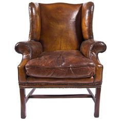 Well worn leather wingback