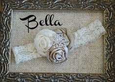 Handmade Gorgeous baby headband! Lidia  Champagne Cream and White Headband by EclecticEgg on Etsy