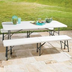 """Brylanehome Fold-In-Half Resin Table, 6' Long, 291/4""""Hx30""""Wx72""""L by BrylaneHome. $149.99"""
