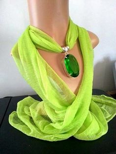 Scarf with Pendant Emerald Green Topaz Pendant by TheStonedScarf,