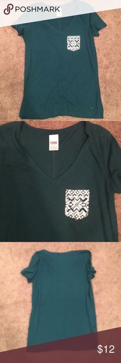 Victoria Secret PINK shirt Cute green Victoria Secret PINK shirt with cute front pocket.  Great condition- only worn a few times. PINK Victoria's Secret Tops Tees - Short Sleeve
