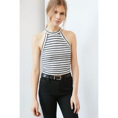 Truly Madly Deeply High-Neck Ringer Tank Top ($29) ❤ liked on Polyvore featuring tops, navy, navy blue crop top, high neck tank, navy blue tank top, stretch tank top and high neck crop tank