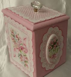 Hand Painted Vintage Wooden Box Pink Roses Hydrangea Cottage Chic Shabby Lace HP