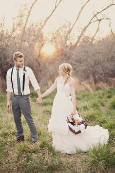 I want my wedding dress like this!! And my husband to wear suspenders! Personal liking: guys who wear suspenders lol