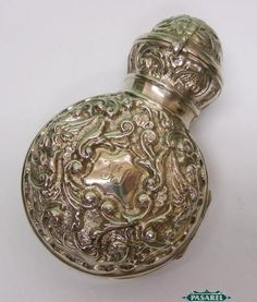 Sterling Silver Cased Glass Traveling Scent Bottle Synyer Beddoes England 1902