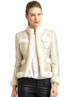 Moschino - Mink Fur-Trim Metallic Bouclé Jacket - Saks.com
