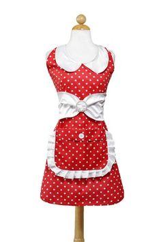Cute,  red polka dot apron