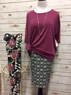 Double duty. LuLaRoe Irma tied at hip with Cassie skirt then turn casual with the Irma untied with these cute leggings.