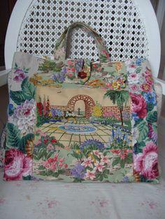 Vintage Sanderson & hand embroidered linen bag