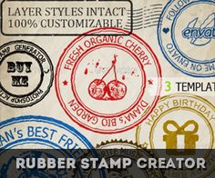 Rubber Stamp Generator Photoshop Action Photoshop Shapes, Learn Photoshop, Photoshop Tutorial, Photoshop Actions, Christmas Snow Globes, Christmas Candy, Stamp Creator, Christmas Typography, Glass Candy