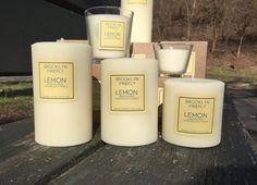 "Lemon Candles. 3"" Round Pillars. Set of 3. Gift Boxed. 240 Hours. We took the bright, refreshing scent of lemon and added wildflowers and a bit of lemongrass for a fresh, citrusy experience. The scent of lemon is believed to help purify the mind and improve mental clarity. We use the maximum fragrance oil we can (without compromising the quality of the candle), so you will enjoy your Lemon scented candles even when not lit. The set of three round pillars includes one 3"" x 3"" round pillar..."