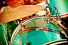 """Custom Made 4-Piece Drum Set In 1957 Ford Turquoise by Response Custom Drums LLC. RESEARCH #DdO:) - https://www.pinterest.com/DianaDeeOsborne/drums-drumming-joy/ - DRUMS & DRUMMING JOY. RSC is a little shop based out of La Crosse, Wisconsin that #Drum #Magazine reported on in 2010. Craftsman Travis Hagen proudly says """"We offer anything from Keller Maple shells to exotic stave shells, acrylic, hybrid, and everything in between!""""  #Turquoise #Blue - #Ocean #Green #DRUMKIT - gorgeous shells"""