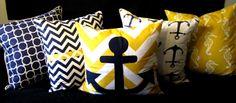 Yellow blue white nautical
