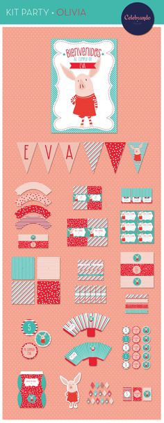 Kit imprimible chanchita Olivia - kit printable Olivia Pig. Celebrando fiestas.
