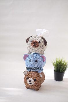 Rattan Basket, Paper Crafts, Teddy Bear, Animals, Design, Newspaper, Animales, Tissue Paper Crafts, Animaux