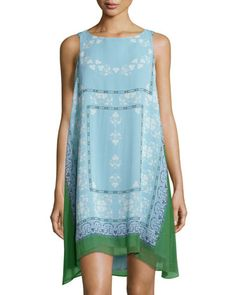 Printed Trapeze Dress, Grass Green/Sky Blue by Max Studio at Neiman Marcus Last Call.