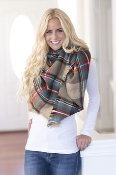 New blanket scarf is available! Perfect Fall transition piece to add to your closet! Oversized Blanket Scarf 100% acrylic