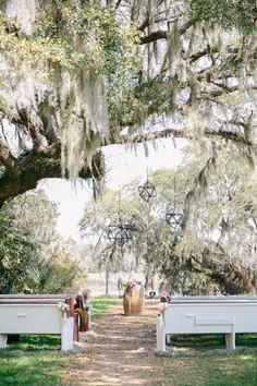 Church Pews for Ceremony Under the Oaks // Ballet-Inspired Styled Shoot at Magnolia Plantation // Charleston SC // Dana Cubbage Weddings // Charleston SC Wedding Photographer