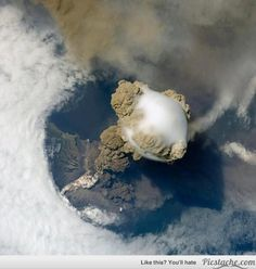 An erupting volcano taken from space