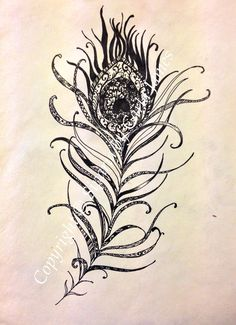 Illustration of a peacock feather with design detail of patterns. The drawing is in black ink and is an original. A4 sized handmade paper.