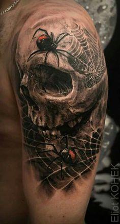 Biker Tattoos, 3d Tattoos, Badass Tattoos, Body Art Tattoos, Tattoos For Guys, Cool Tattoos, Evil Skull Tattoo, Skull Sleeve Tattoos, Skull Tattoo Design