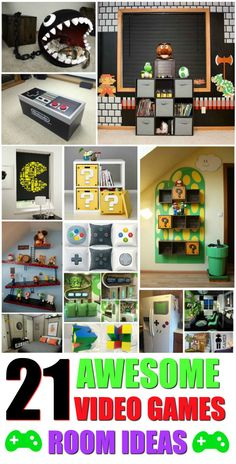 21 Truly Awesome Video Game Room Ideas - U me and the kids 21 awesome video games room ideas.<br> Here are 21 totally awesome Video Game Room Ideas that are more than achievable to recreate in your own home, giving you the ultimate gaming paradise . Video Game Decor, Video Game Rooms, Video Games, Video Game Bedroom, Video Game Crafts, Nerd Room, Gamer Room, Nerd Cave, Boy Room