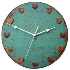 Clock - Driftwood & Vintage Wooden Ruler Love Heart Wall Clock