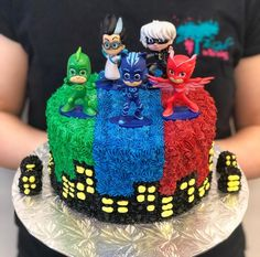 Cake made to order- Kids & Adults Birthday Pj Masks Birthday Cake, Birthday Cake Kids Boys, 3rd Birthday Cakes, Boy Birthday Parties, Spiderman Birthday Cake, 4th Birthday, Birthday Ideas, Pj Mask Cupcakes, Pj Masks Cakes