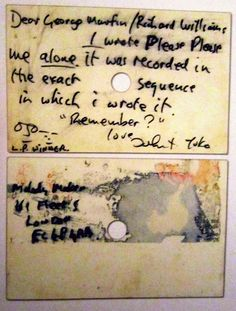 """thebeatlesforlife:  """"Years later John Lennon sent this card to'Melody Maker' - following an interview with George Martin by writer Richard Williams - explaining that he wrote'Please Please Me'""""alone"""". - Drive My Car: 100 Objects That Made The Beatles'The Beatles'.Scanned by thebeatlesforlife :)"""