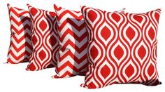 Zig Zag Red and Lipstick Red and White Ogee Indoor Throw Pillows - Set of 4 - modern - Pillows - Land of Pillows