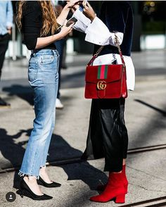 It's all G baby baby ❣ So love the Gucci bag; but look at those sleeves, and then the raw hem jeans ♥