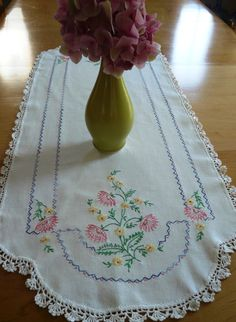 Vintage Hand Embroidered Linen Table Runner with Pink and Yellow Flowers by Finderie on Etsy, $14.00