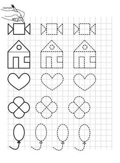 printables for kids Free Preschool, Preschool Worksheets, Preschool Learning, Preschool Activities, Graph Paper Drawings, Graph Paper Art, Letter Tracing Worksheets, Shapes Worksheets, Minion Coloring Pages