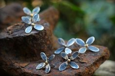 Wabi-Sabi Blossom Earrings - Recycled Sterling & 14k Gold - Studs, Posts, Flowers, Rustic, Urban Garden, Mixed Metals, Zen, Gifts, Bridal