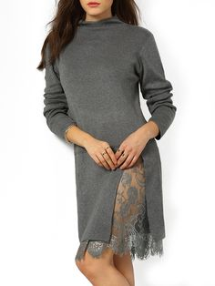 Shop Grey Mock Neck Lace Sweater Dress online. SheIn offers Grey Mock Neck Lace Sweater Dress & more to fit your fashionable needs.